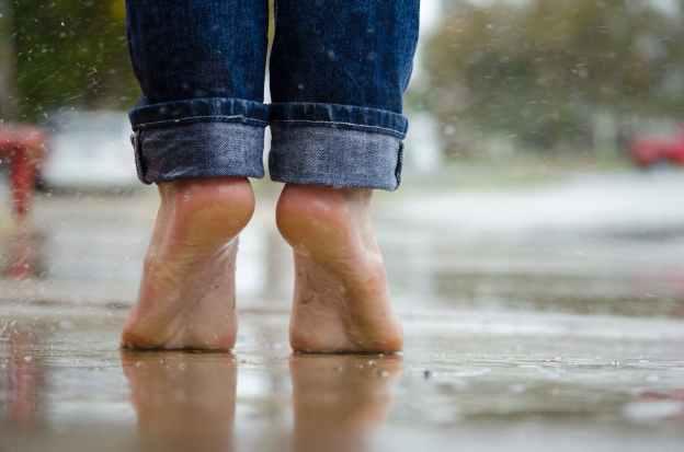 feet rain wet puddle